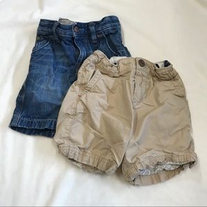 set of GAP khaki and denim shorts